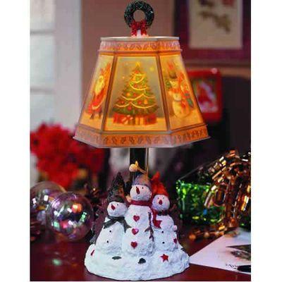 Handpainted Sculpted Snowman Trio Christmas Lamp Santa