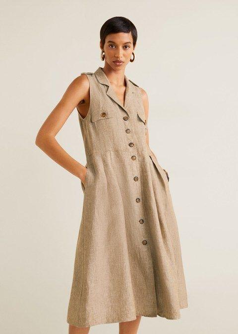 e1dd6cde4df3 Linen-blend shirt dress - Women in 2019
