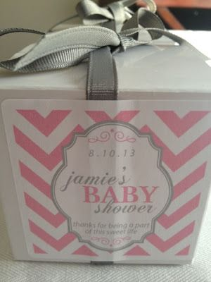 Northern Dixie Blog:  pink & grey baby shower details - pink and grey girls shower favors for each guest - cupcake mix