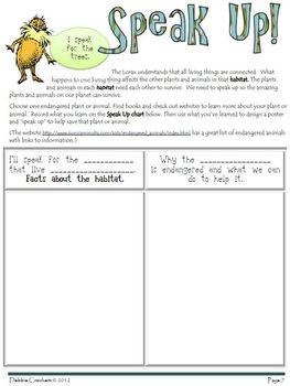 Show the Lorax you care about the Earth.  Speak Up to save endangered plants and animals. Earth Day Lorax Packet.