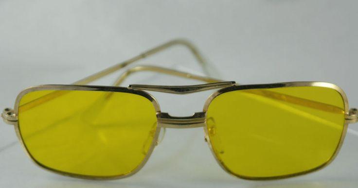 Vintage 70s Yellow Tint Sunglasses Gold Tone Wire Rims Rectangular Glass Lenses | eBay
