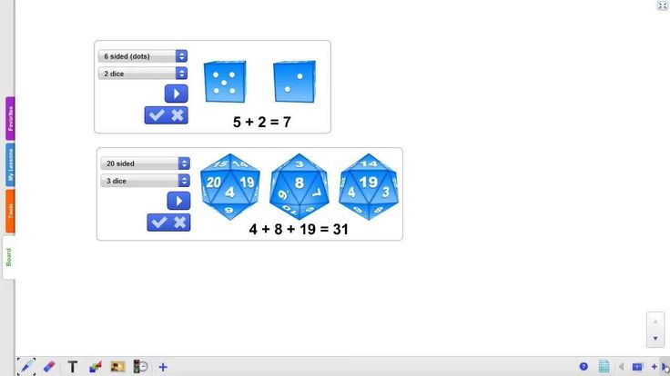 A multifunctional dice widget. Select up to 5 dice at the same time. Select from various types of dice incuding: 6 sided numbered dice, 6 sided colored dice, 4 sided dice with dots, 8, 10, 12 and 20 sided dice. You can also use this widget in combination with other tools to create your own interactive elements for your lessons.  Try it out yourself: http://r.gynzy.com/9530766f