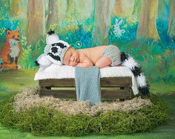 Mapache fotografía recién nacido bebé Prop bosque animales lactantes Halloween traje de bebé de ganchillo ducha recién nacido regalos fotos Prop