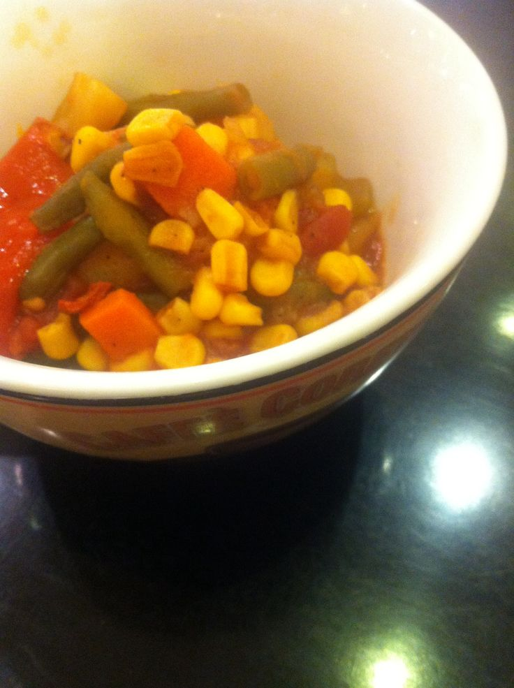 Dinner: Boiled vegetables with hot sauce. + 2 cups of water.