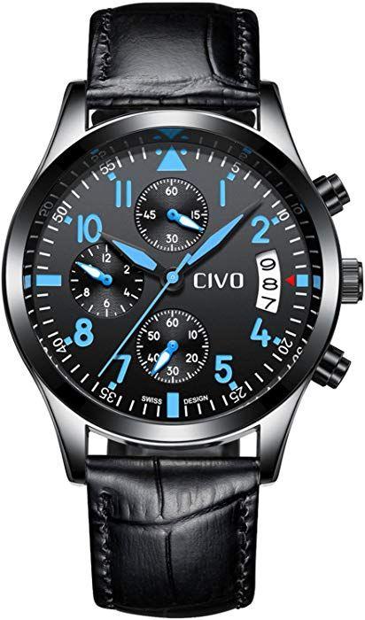 b7f1b19cecb CIVO Mens Black Chronograph Watches Men Teenage Boys Multifunctional  Fashion Business Leather Wrist Watch Casual Dress Waterproof Date Calendar  Analogue ...