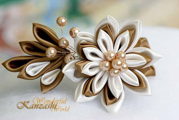 Kanzashi Fabric Flower Pin Brown and Ivory | Flickr - Photo Sharing!
