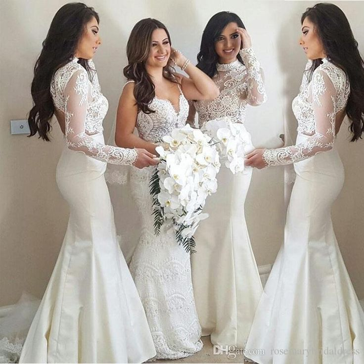 High Neck Lace Bridesmaid Dresses Mermaid Long Sleeve Open Back Wedding Guest Dresses Winter Elegant La Dama De Honor Bridesmaid Dress Prom Dress Wedding Dress Online with $147.43/Piece on Rosemarybridaldress's Store | DHgate.com