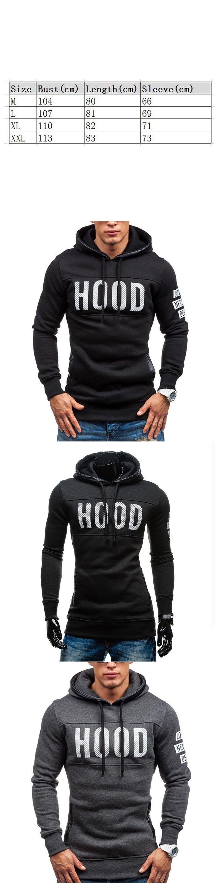 Men's Hoodies Sweatshirts Men Letter Printing Cotton Hooded Sportswear Hip Hop Clothing Black Gray