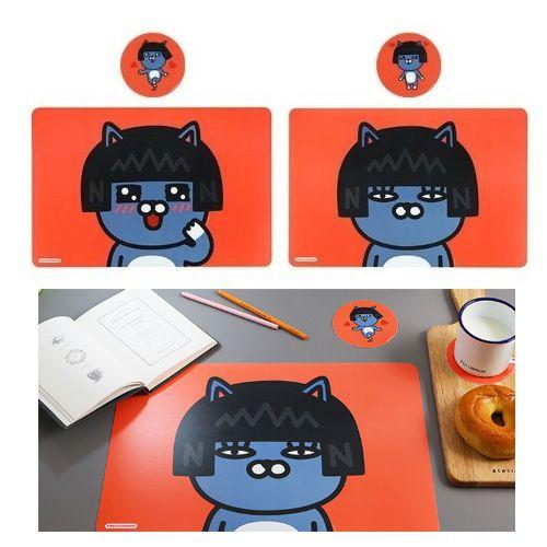 Kakao Friends Neo Kitchen Dining Desk Table Mat 2 pcs Cup Coster 2pcs Gift Set #DaumKakaoFriends