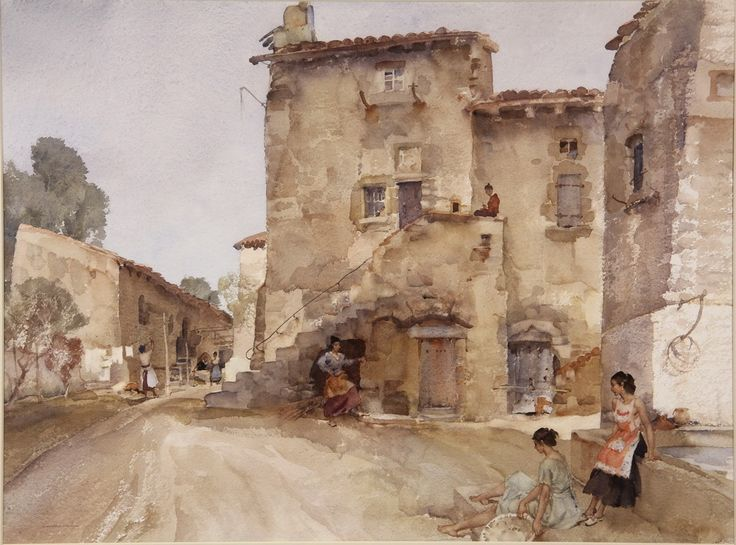 """'Early Morning ' Original watercolour 'Mother and Daughter, Vaunavey' by Sir William Russell Flint (London, 1880-1969), signed lower left. Inscribed with title verso, depicting two women seated at the village well, other women on street. Image size 20"""" x 27"""""""
