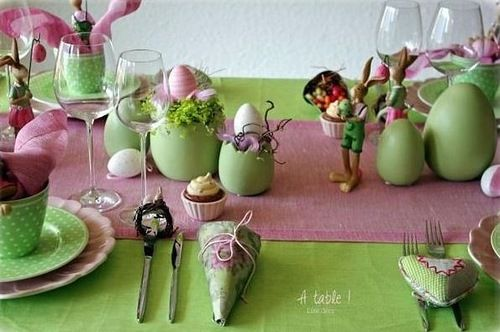 Textiles uses in the Easter decor - Пасхальный стол