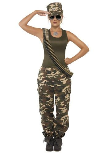 Attention soldier! Did you think you could just waltz to war not wearing the female khaki camo costume? You must be out of your mind trying to fight in the army without one.