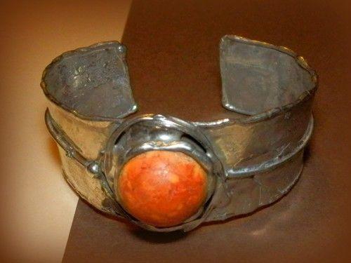 http://megasilver.pl/Bransoleta-p375 #Bracelet #metalwork #handmade #orange #agate #stone #jewelry #jewellery