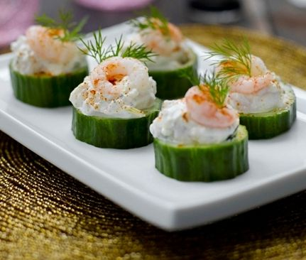 wedding buffet menu: prawn with cream cheese on cucumber rounds