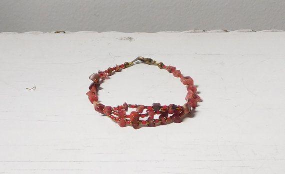Hippie Anklet Red Carnelian Plus Size Bracelet 9 1/2