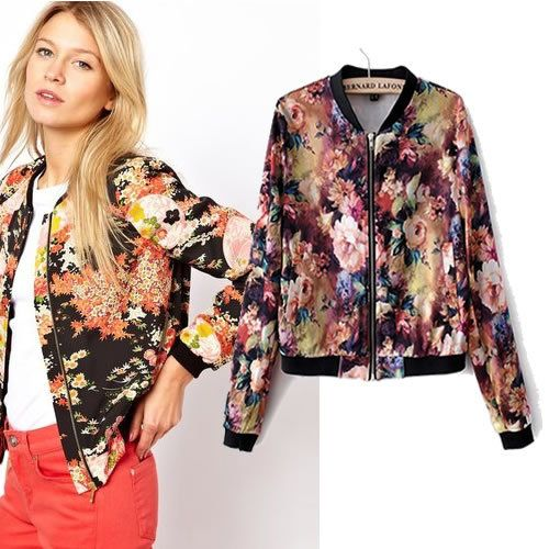 Women's floral print bomber jacket – Modern fashion jacket photo blog