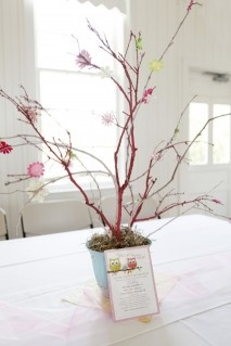 spray painted branch as centerpiece