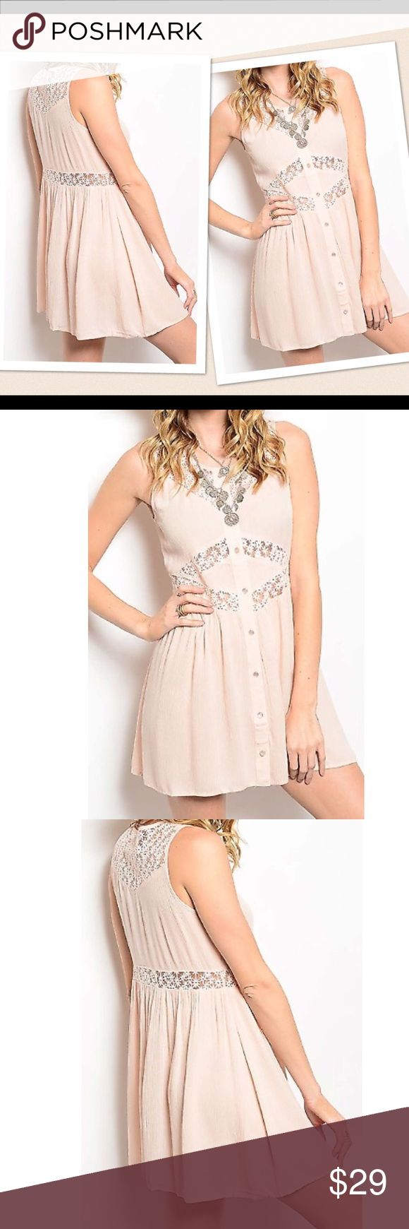 Coming Soon! Reserve Now. Baby Doll Dress Button down lace trim baby doll dress. Fabric content: 100% Rayon. Contrast: 100 Nylon. Color Blush Dresses Mini