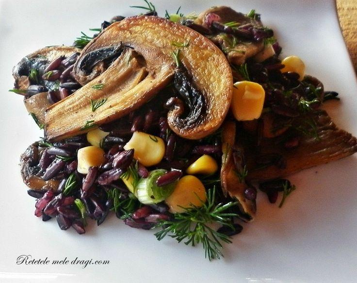 Salata de orez negru cu ciuperci   Retetele Mele Dragi