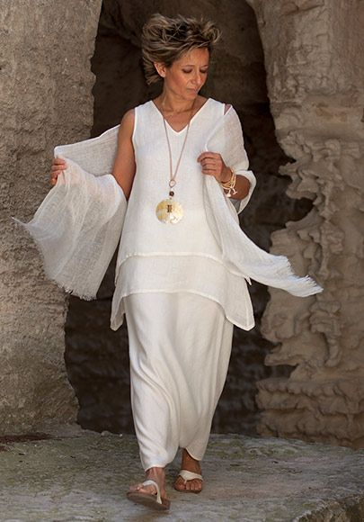Off white layered linen gauze top with sarouel skirt -:- AMALTHEE CREATIONS -:-