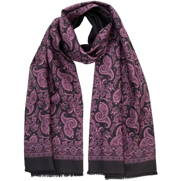 Siena-silk wool reversible scarf-plum/black ($149) ❤ liked on Polyvore featuring men's fashion, men's accessories, men's scarves, mens silk scarves, mens paisley scarves, mens wool scarves and mens woolen scarves