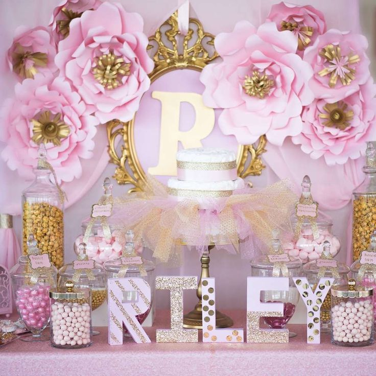 Princess themed pink and gold baby shower party! See more party planning ideas at CatchMyParty.com!