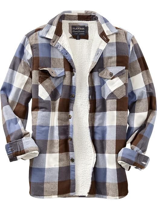 Old navy men 39 s flannel sherpa lined shirt jackets what for Sherpa lined plaid shirt