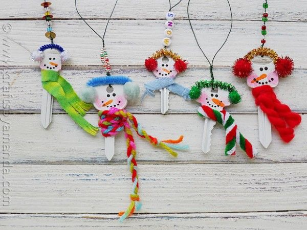 Recycled Key Snowman Ornaments - CraftsbyAmanda.com