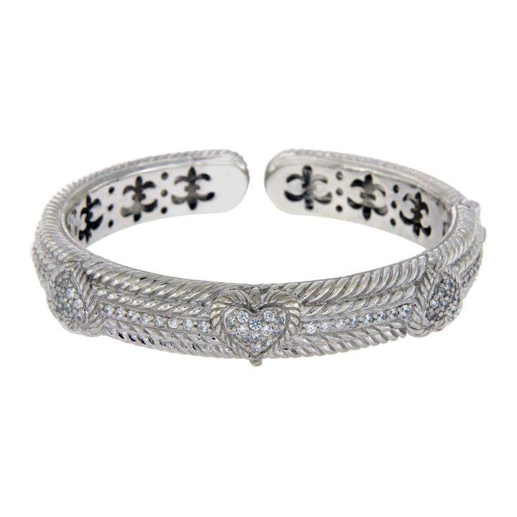 "JUDITH RIPKA 925 Silver Diamonique Stones Heart Bangle Size 6.3/4"" Large»BO3 #JudithRipka #Bangle"