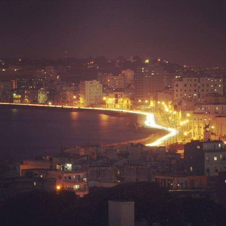 The Malecon at night. Havana Cuba