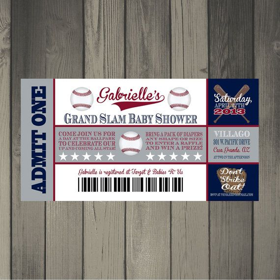 New York Yankees Inspired Baby Shower Ticket by CLaceyDesign, $15.00
