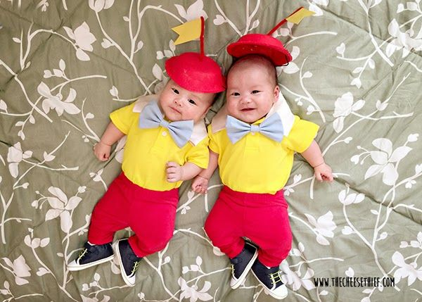 Twins Halloween Costume DIY.  Great twin or couple costume idea.  Video tutorial for no sew bow tie included.