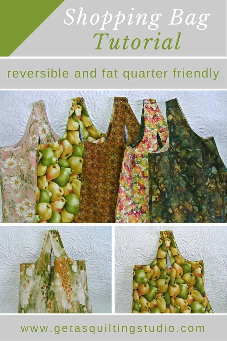 Quick and easy shopping bag tutorial- it uses 2 fat quarters. via @getagrama