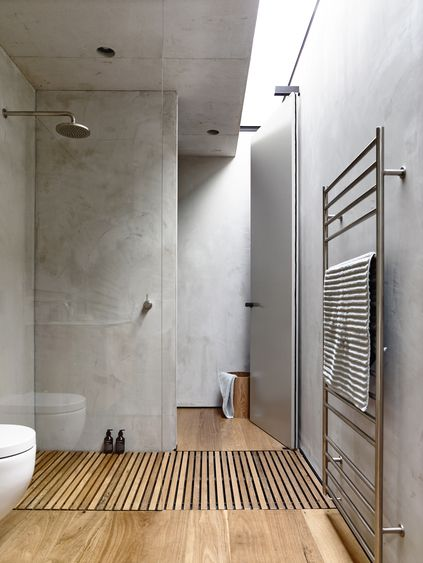Shower drains down wooden floor | Schulberg Demkiw Architects | Australian Interior Design Awards