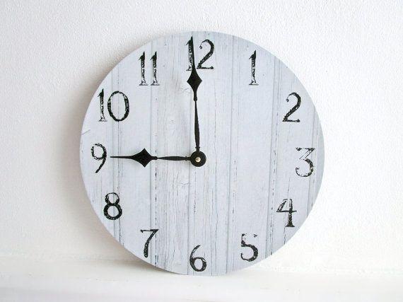 "Rustic Wall Clock - 12"" Vinyl LP Record White Wood Print - Beach House Decor - Unique Wall Clock - Neutral Wall Decor - Rustic Home Decor"