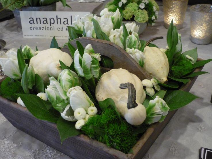 le zucche bianche e i tulipani parriot,,nella cassetta di legno vintage...