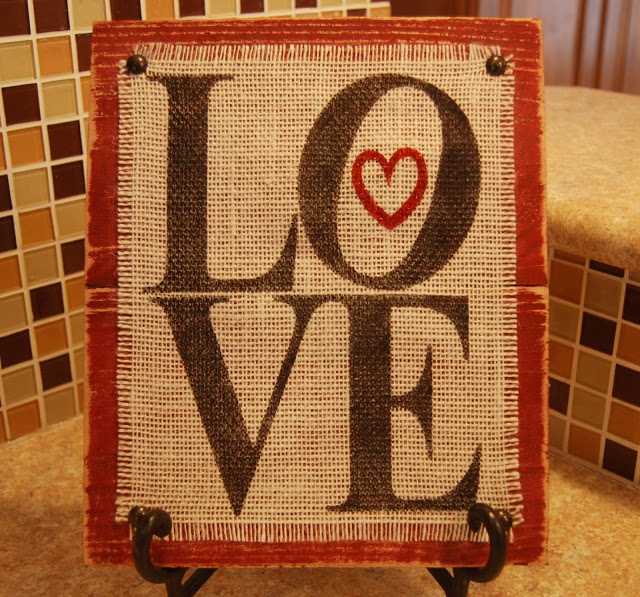 DIY Burlap On Painted Wood Love Sign
