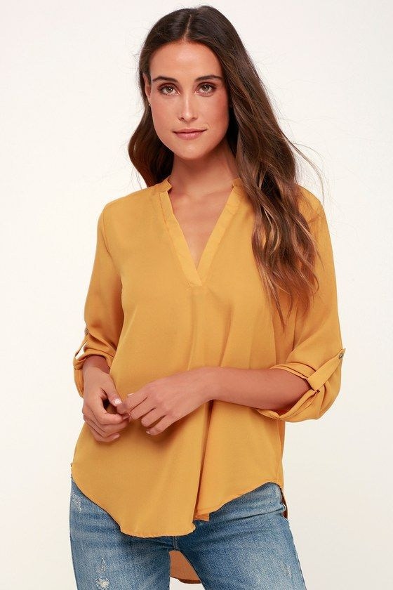 39c5e02456 V-sionary Mustard Yellow Top in 2019