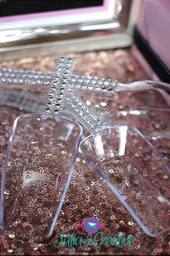 "2 Bling scoops and 2 Bling tongs by TaliasPrinting on Etsy, $14.00 as seen in ""Twilight Fairy's Hollow"" party by Soiree Event Design"