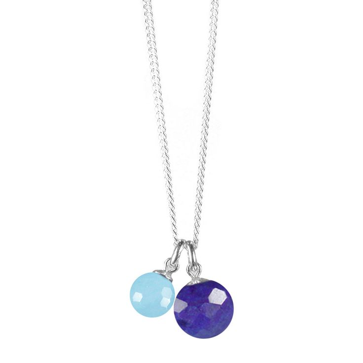 Mounir Lapiz And Blue Quartz Pendant On Silver Chain | ACHICA