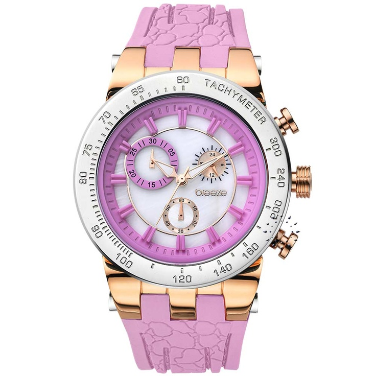 BREEZE Desire Chrono Pink Rubber Strap Μοντέλο: 110011.11 Τιμή: 190€ http://www.oroloi.gr/product_info.php?products_id=30565