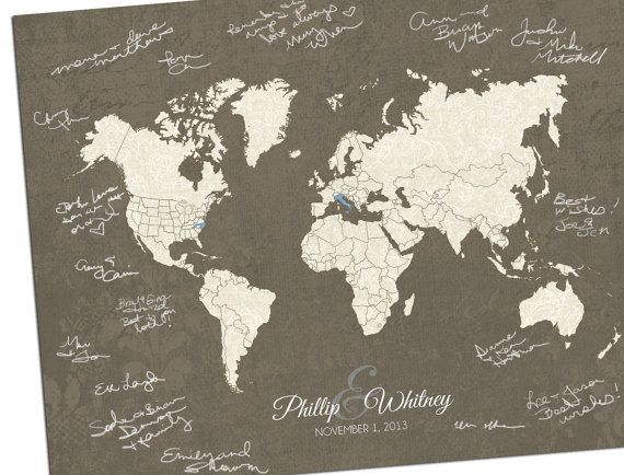 15 best wedding guest book alternatives images on pinterest guest wedding guest book idea lace inspired map custom world map by hereandthereshop gumiabroncs Images