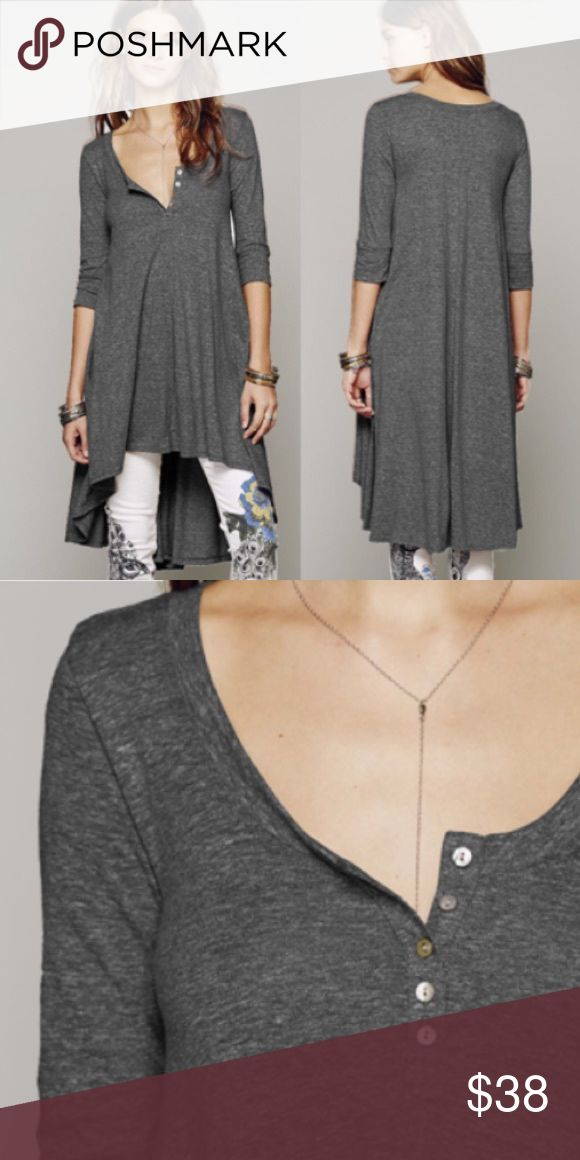 """Marled Jersey DRESS High-Low Drippy Tunic Tee BRAND NEW!! Marled jersey knit oversized high-low tee. Button detailing at front of neckline. Rounded neckline and three-quarter length formfitting sleeves. This dress is a comfy and casual essential that can be dressed up or down in a cinch.  S: Bust: 33.8""""/Length: 28.8-35.4"""" M: Bust: 35.8""""/Length: 30.6-37.4"""" L: Bust: 37.8""""/Length: 31.8-38.4"""" XL: Bust: 39.8""""/Length: 32.8-39.8""""  🌟🌟This item is brand new, direct from the manufacturer, and sealed…"""