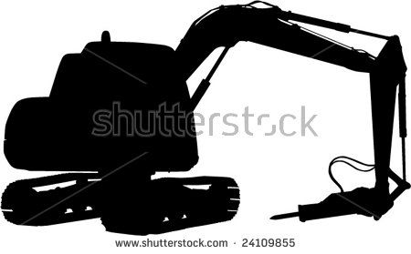 Mechanical digger isolated on white background  #mechanicaldigger #silhouette #illustration