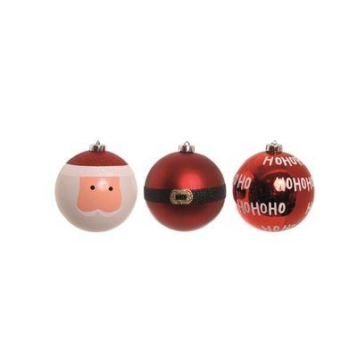 Enfeite Bola de Natal Vermelha Papai Noel Ho Ho Ho 12cm 4 jogos Cromus