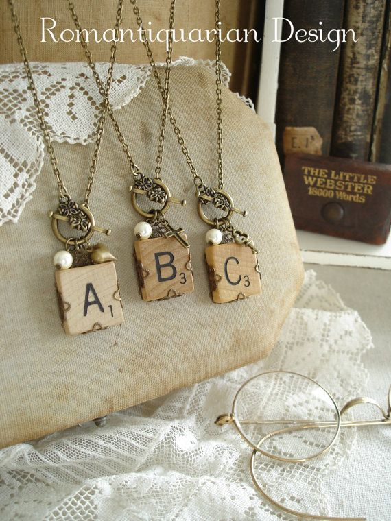 SCRABBLE Letter Necklace. Custom Initial Necklace. Vintage Wood Tile & Antiqued Brass Filigree. Rustic Monogram Necklace. Repurposed Jewelry...