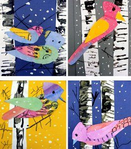 The Winter Bird Art Lesson is a great painting project for kids that is totally fridge-worthy.