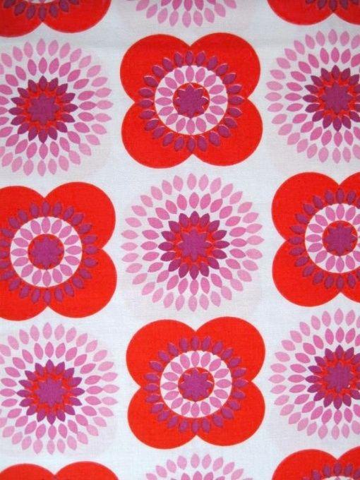 70er Jahre Stoff - Bild 1 red pink flowers