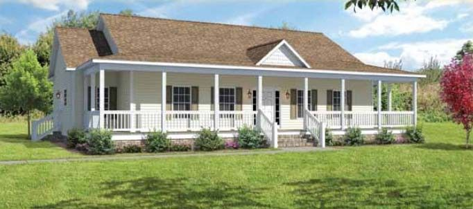 Manufactured homes wrap around porch affordable homes for Modular farmhouse