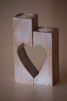 Wooden Candle holder Heart candle holder by WoodMetamorphosisUK